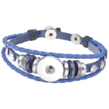 Light Blue With Blue Beads DIY Leather Bracelet Multiple Colors for 18MM - 20MM Snap Jewelry Build Your Own Unique
