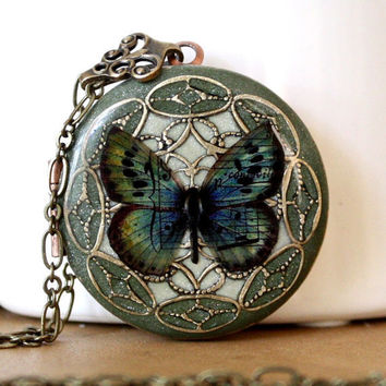 Locket Resin Locket Butterfly Green Necklace by MStevensonDesigns
