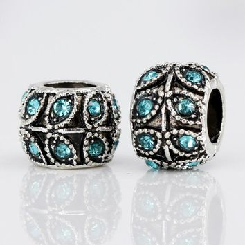New 1pc Alloy bead Charm European Vintage Leaves with Crystal Beads Fit Women Pandora