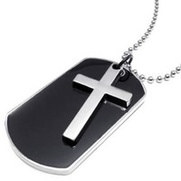 KONOV Army Style Dog Tag Cross Pendant Mens Necklace, Color Black Silver, 27 inch Chain