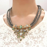 Gem Water Drop Statement Necklace