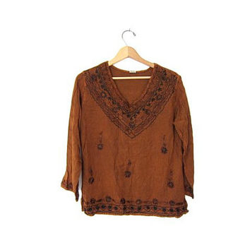 Vintage boho INDIAN blouse. Boho hippie gypsy shirt. Ethnic festival blouse. Copper brown shirt with embroidery