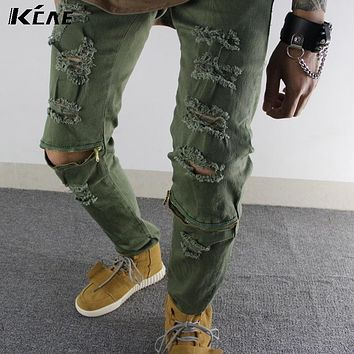 Khaki army green Fashion Men's Rider Biker Motorcycle Joggers HipHop Slim Fit Washed Black White Denim Pants Skinny Jeane