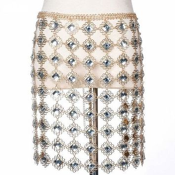 "32"" waist crystal belly 10"" fringe tassel belt skirt body chain rhinestone"