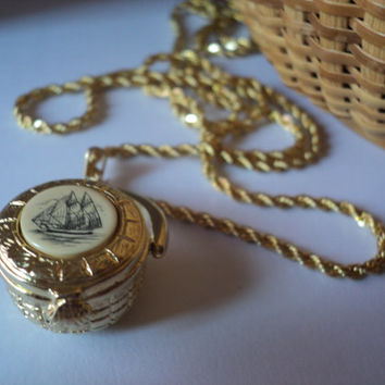 Nantucket Basket Necklace Tall Ship Scrimshaw Art Gold Tone Locket Pendant Chain Scallop Shell Latch Cape Cod Nautical Jewelry Pewter PAI