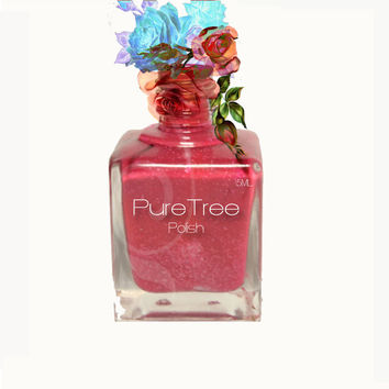 Nail Polish ''Flirt'', - pink coral  with shimmer and Gold/ Silver glitter, highly pigmented