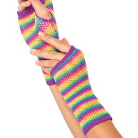 Rainbow Fishnet Fingerless Gloves : Rave Accessories from RaveReady