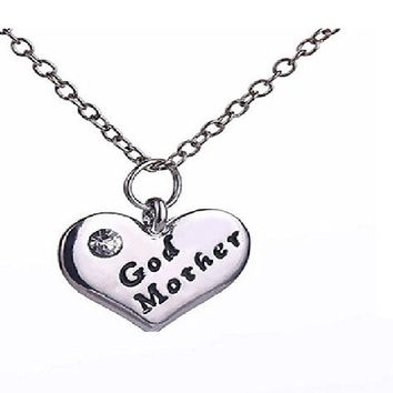 Love Heart Pendant Rhinestone Godmother Necklace Jewelry Mothers Day