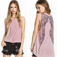 Wing Printed Back Tank Top