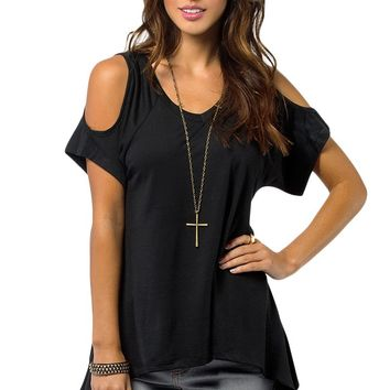 Black V Neck Cold Shoulder Swing Top