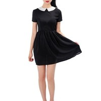 Persun Women Black Short Sleeve Shirt Collar A-Line Knee Length Dress
