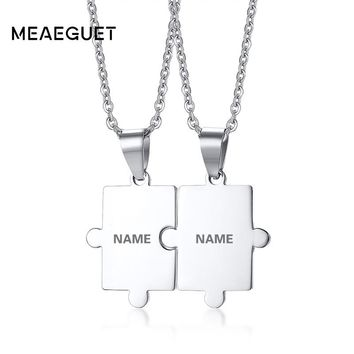Meaeguet Free Engraving Puzzle Necklace Set For Best Friends Men Women Couple Stainless Steel Personalized Pendant Necklace Set