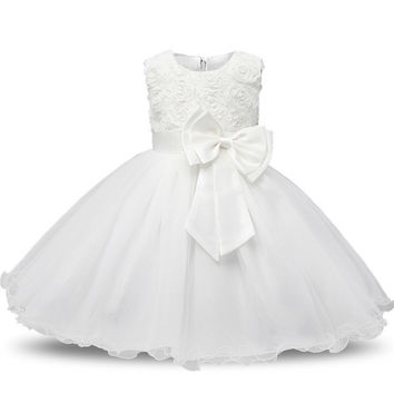 Princess Flower Girl White Pageant Dress Sleeveless Floral and Tulle A-Line Frilly Dress 2T to 12Yr
