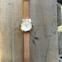 Gold and Tan Watch with Rhinestone Accent