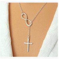 Necklaces - New Arrival European And American Trade Extreme Simplicity Luck Number Eight Short Necklace Cross Necklace #1794340