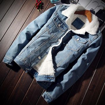NaranjaSabor Autumn Winter Men's Denim Coats Men Fleece Jacket Warm Thick Jeans Male Slim Casual Windbreakers 5XL N415