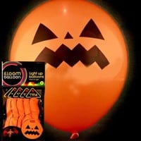 iLLoom Halloween Balloons - Fixed LED Light up Balloons - 5pk Halloween Specials (Pumpkin)