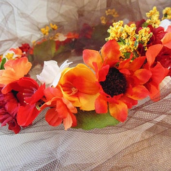 Autumn Flower Crown, Renaissance Mixed Wildflower Tiara, Bridesmaid Crown, Festival Crown