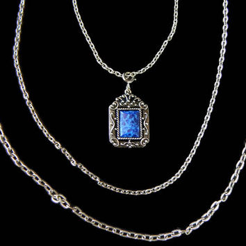Blue Pendant Necklace Sarah Coventry Ornate Setting Multi Chain