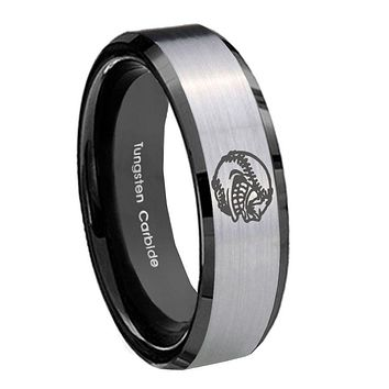 10mm Angry Baseball Beveled Brushed Silver Black Tungsten Wedding Band Mens