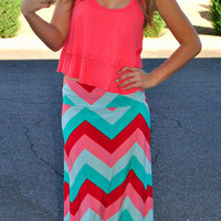 SWEET N' SOUR CHEVRON MAXI SKIRT