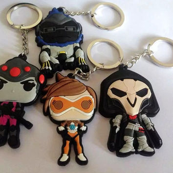2016 Game 6x5CM overwatch Keychain game Tracer Reaper OW key chains Blizzard Entertainment Key Ring Holder