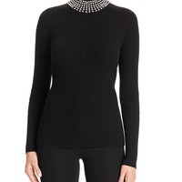 C by Bloomingdale'sFaux Pearl Turtleneck Cashmere Sweater