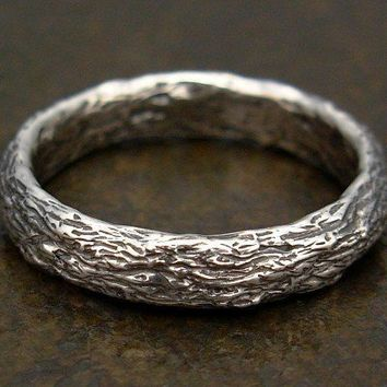 Tree Bark Ring Sterling Silver Mens by MarcusBerknerJewelry