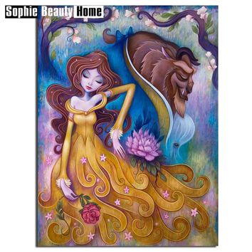 Special Promotion Diamond Painting Beauty and Beast Handicraft Needlework 5D Mosaic DIY Diamond Embroidery Home Decor 060210
