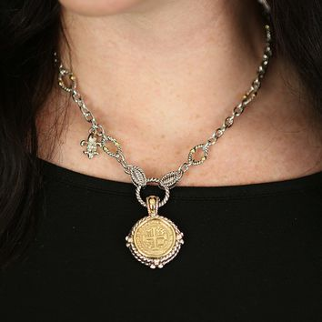 French Cross Stamped Necklace in Gold