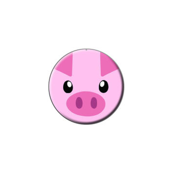 Pig Face - Close-up Farm Animal Lapel Hat Pin Tie Tack Small Round