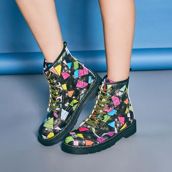 PU Floral Print Low Chunky Heel Round Toe Lace-up Short Boots