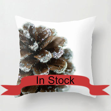 "Brown 14"" Christmas Pillow Cover Decorative Throw Cushion Cover Holiday Pine Cone White Brown Festive Decor Handmade Cotton Zippered Cover"