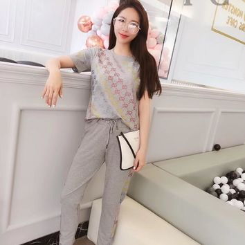 GUcci Women Fashion Leisure Tracksuit Two Piece Suit Set Suit skirt