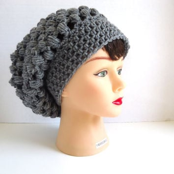 Crochet Slouchy Beanie for Women or Men in Grey - Slouchy Beanie Hat - Grey Slouchy Hat - Fall Hat