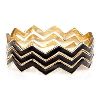 Triple Jump Black Chevron Bangle Set