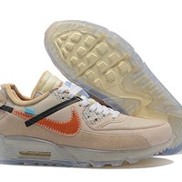 """[Free Shipping ]OFF WHITE x Nike Air Max 90 """"Desert Ore""""OW AA7293 200 Basketball Shoes"""