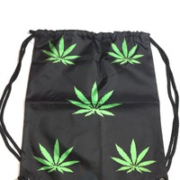 420 Weed Cannabis Marijuana Leaf Drawstring Backpack