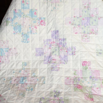 Baby Girl Quilt, Shabby Chic, Crib Bedding, Granny Square Quilt, Homemade Quilt