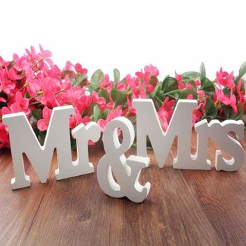 Wedding decorations 3 pcs/set Mr & Mrs Pure White Letter Wedding Sign