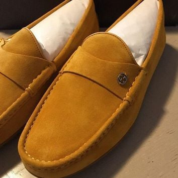 New $655 Gucci Men's Suede Drivers Loafers Shoes Yellow 9G ( 9.5 US ) Italy