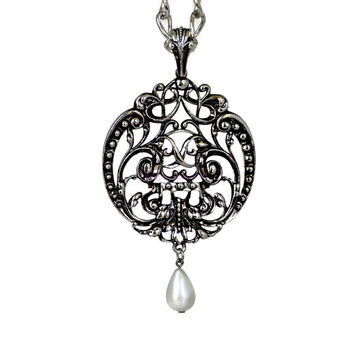 Big Filigree Pendant With Pearl Teardrop on Long Thick Chain, Large Pendant, Big Pendant, Huge Pendant, Victorian Revival, Runway, Statement