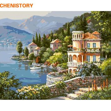 CHENISTORY Landscape DIY Painting By Numbers Acrylic Paint  On Canvas Handpainted Oil Painting For Home Decor Wall Artwork 40x50