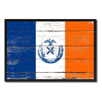 New York City New York State Flag Vintage Canvas Print with Black Picture Frame Home Decor Wall Art Collectible Decoration Artwork Gifts