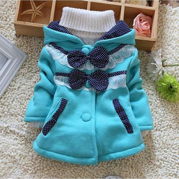 Flower Princess Lace Dots Bows Thick Hooded