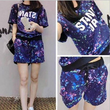 Flower Print Plus Size T-shirt with Shorts Casual Sport Suits