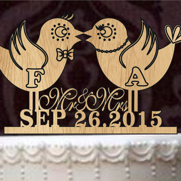 Love bird wedding cake topper, Rustic wedding Cake Topper, personalized wedding cake topper, silhouette cake topper - mr and mrs, cake decor