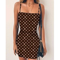 Louis Vuitton LV Fashion Women Print Stripe Dress Show Body Sleeveless Vest Type Dress