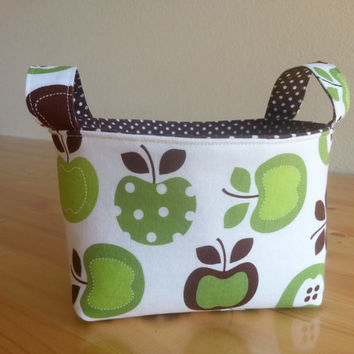 Small Fabric Storage Bin Basket ~ Metro Market Apples with Brown Dot