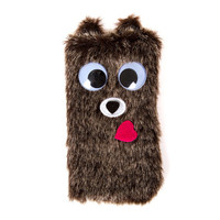 Googly Eye Fuzzy Teddy Bear Cell Phone Sock